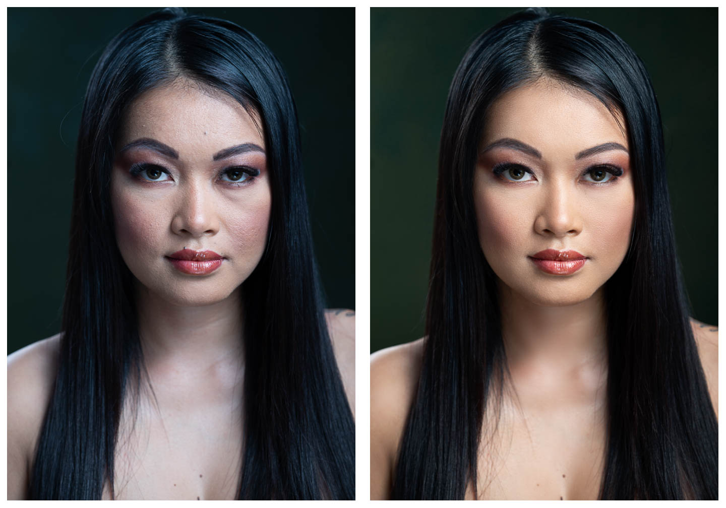 Beauty retouch with difficult lighting